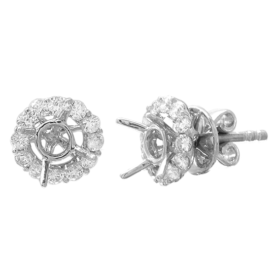 View 0.51cttw Diamond Earring Semi Mount Studs in 18k White Gold