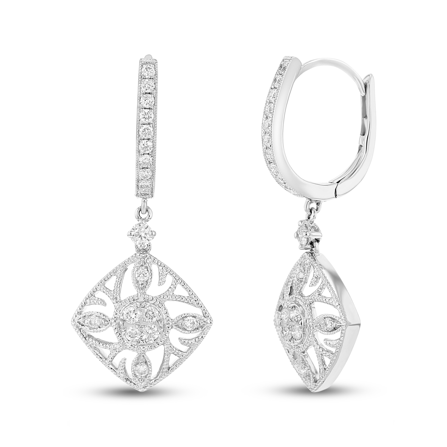 View 0.50ctw Diamonds Fashion Earrings in 18k White Gold