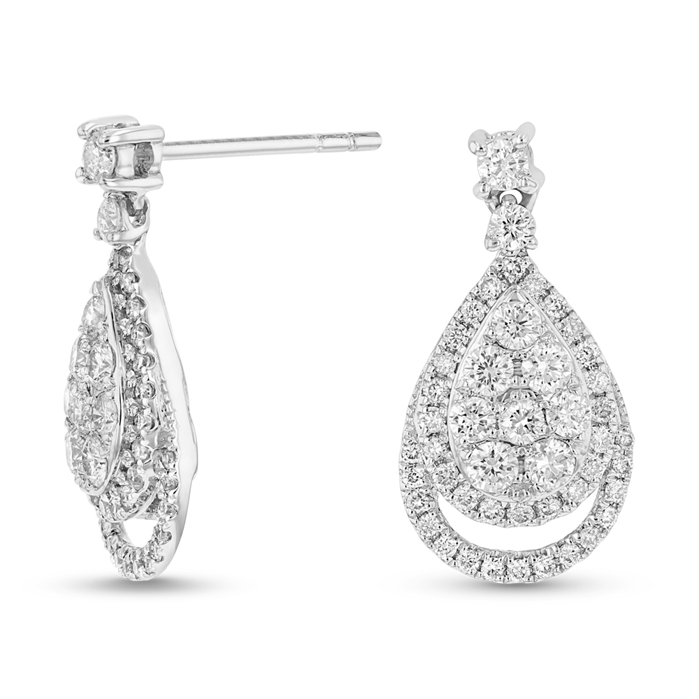 View 1.29ctw Diamond Fashion Earrings in 18k WG