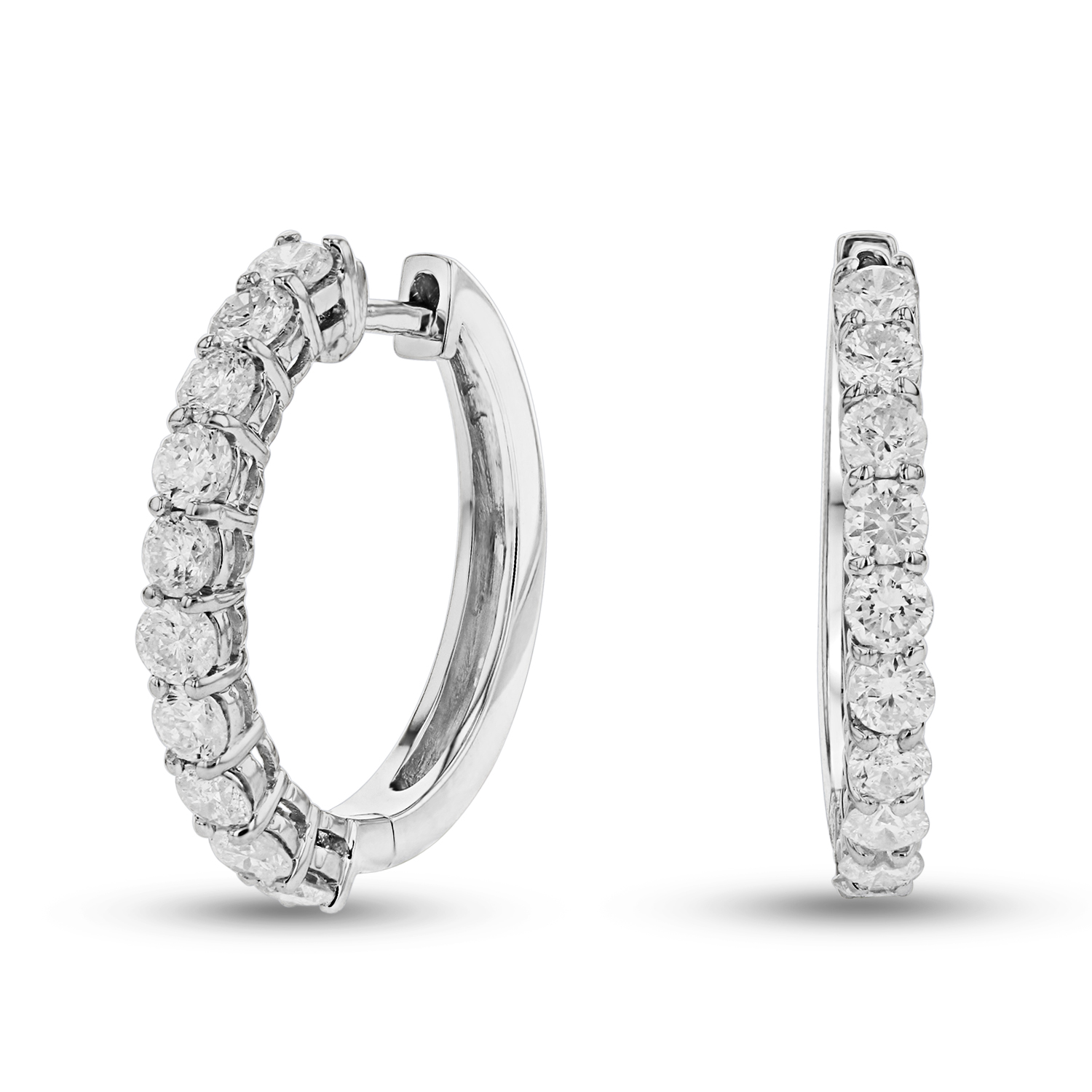 View 1 1/4ctw Diamond Hoop Earrings in 14k Gold