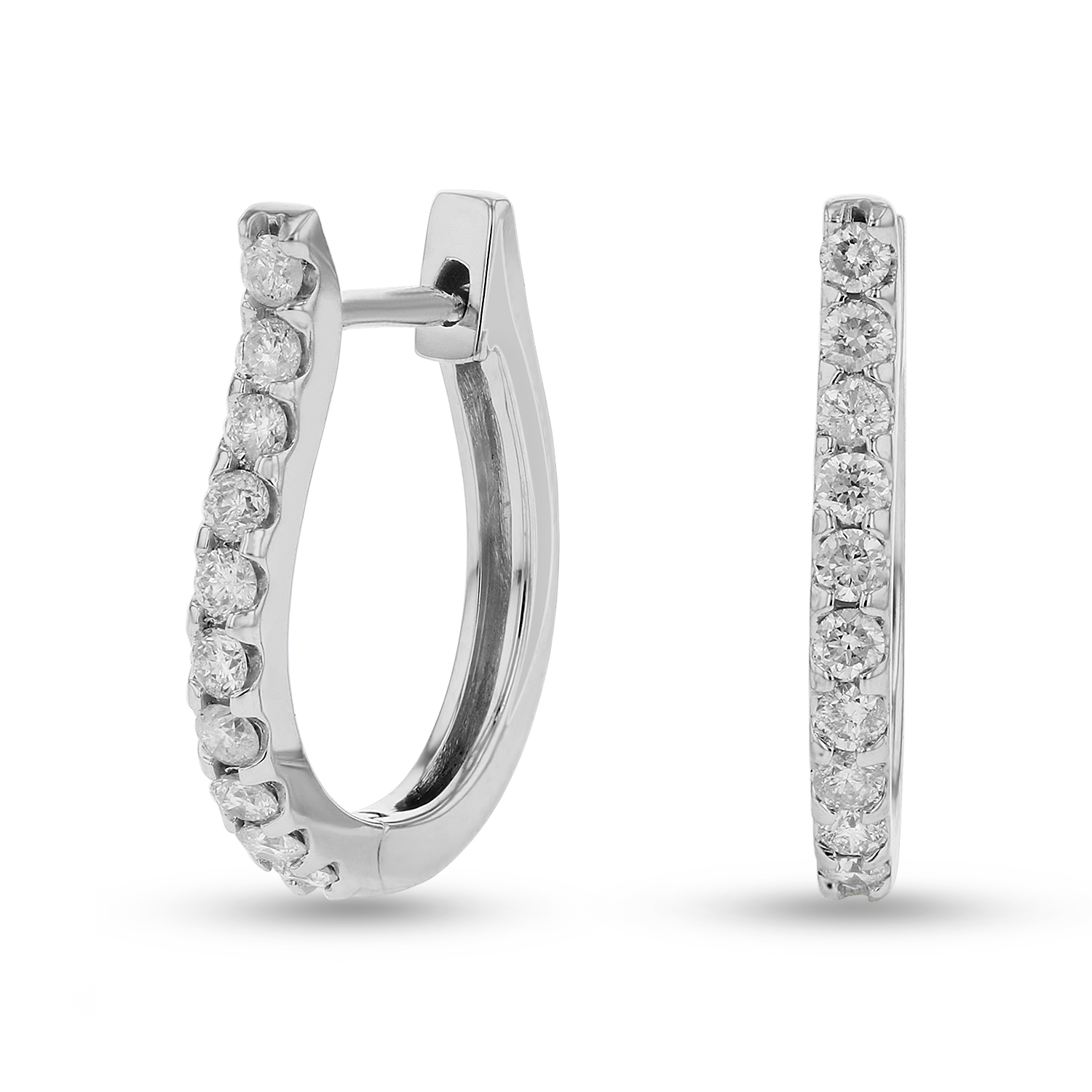 View 1/2ctw Diamond Hoop Earrings in 14k Gold