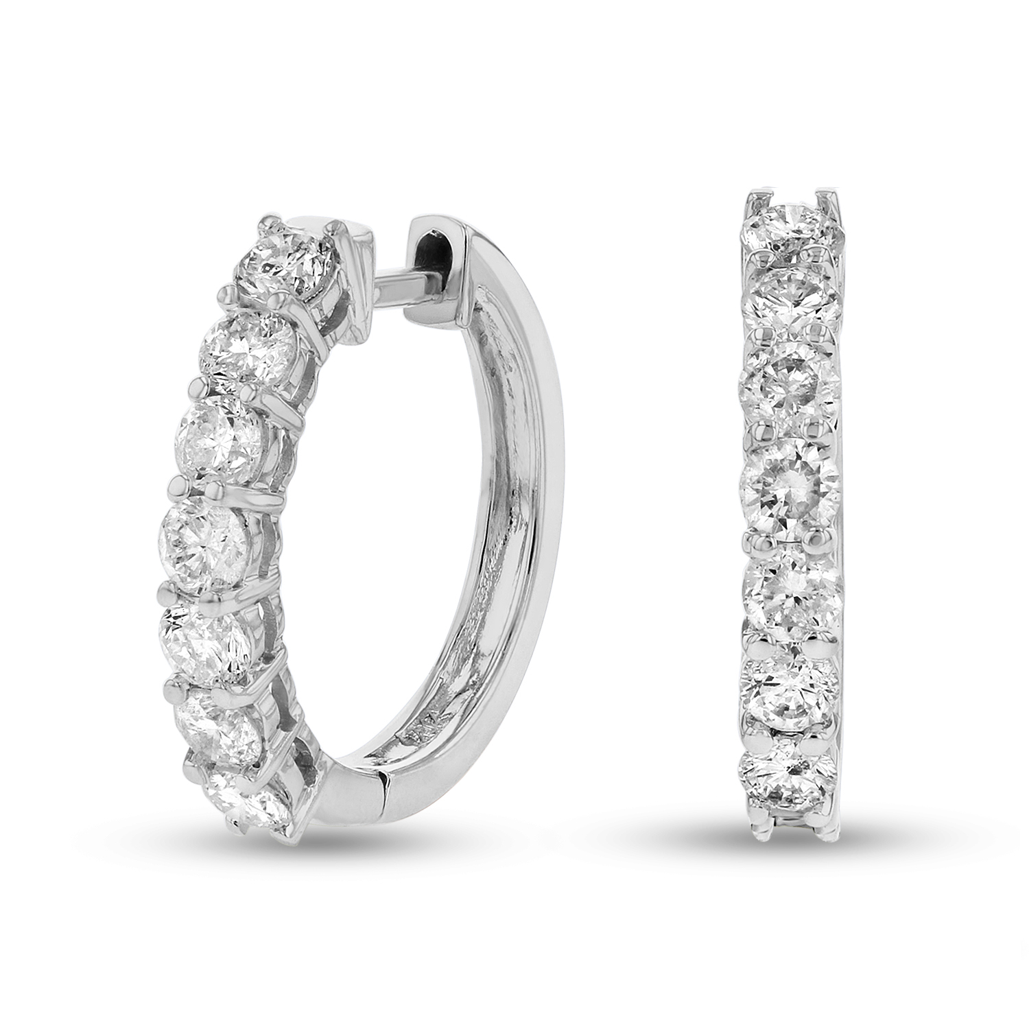 View 1.00ctw Diamond Hoop Earrings in 14k Gold