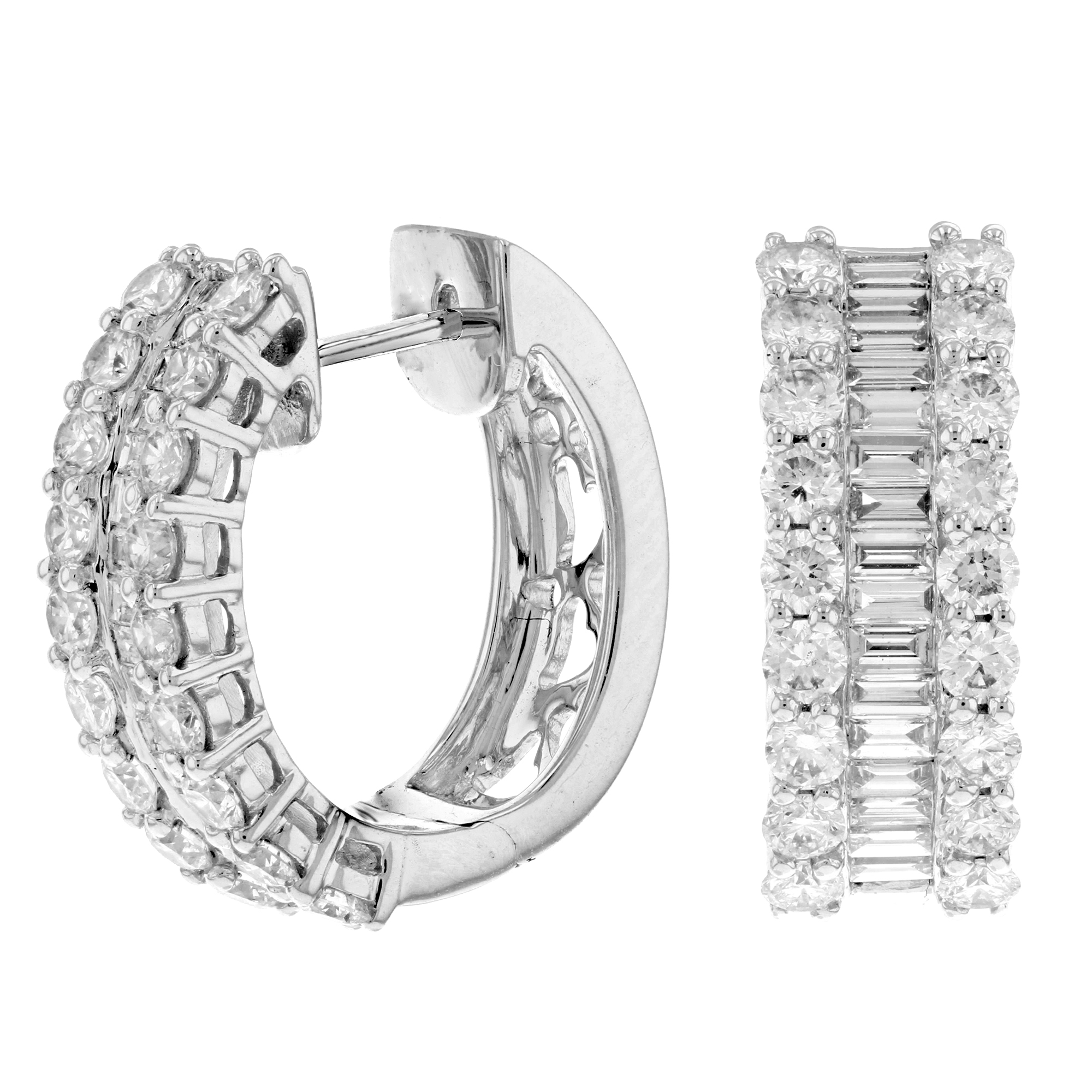 View 3.20ctw Diamond Hoop Earring in 18k White Gold