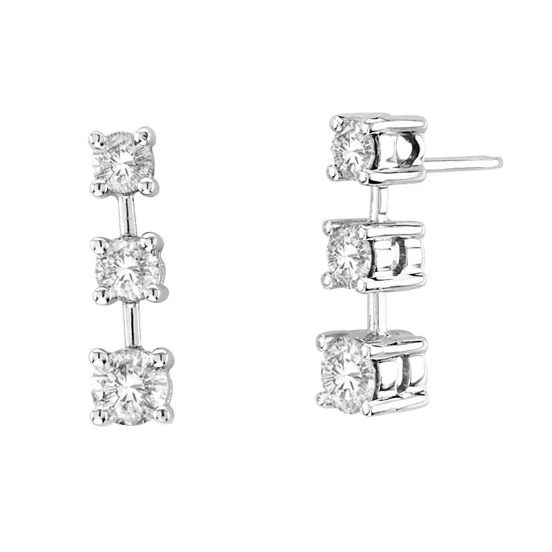 View 1.00 ctw Tree Stone Diamond Earring in 14K Gold