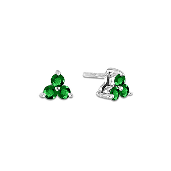 0.30cttw Emerald Three Stone Earrings in 14k Gold