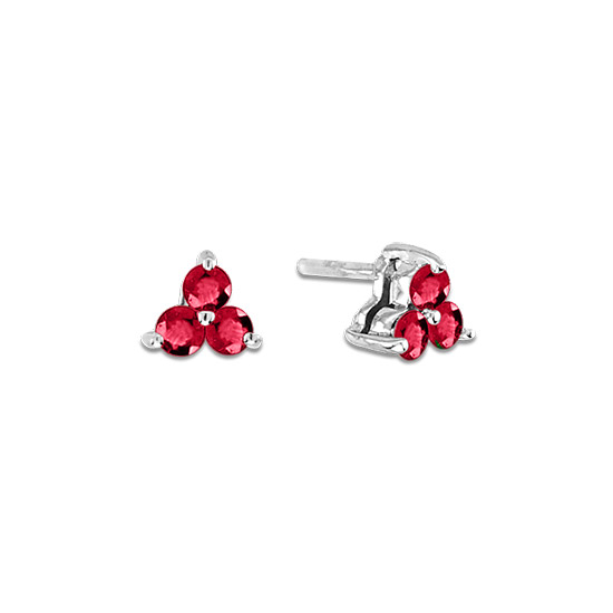 View 0.40cttw Natural Heated  Ruby Three Stone Earring in 14k Gold