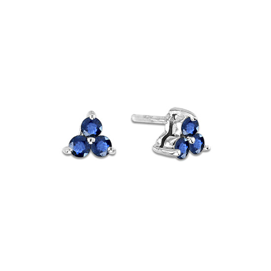View 0.40cttw Sapphire Three Stone Earrings in 14k Gold