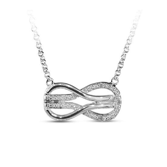 View 0.02cttw Diamond Accent Sterling Silver Infinity Necklace