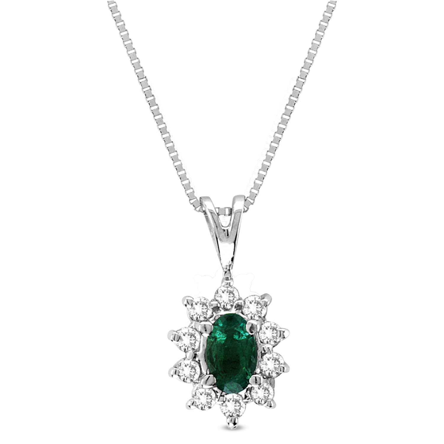 0.35cttw Diamond and Emerald Pendant 14k Gold