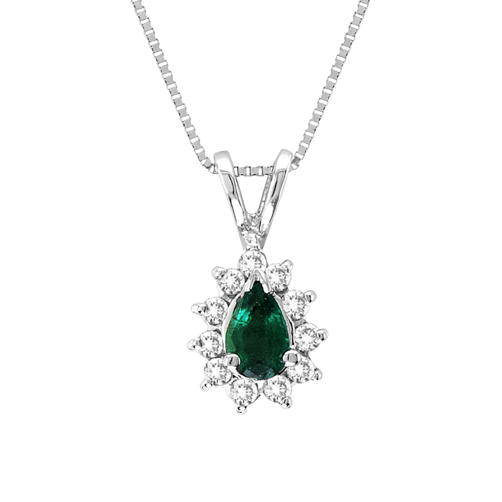 0.35cttw  Diamond and Emerald Pendant in 14k Gold