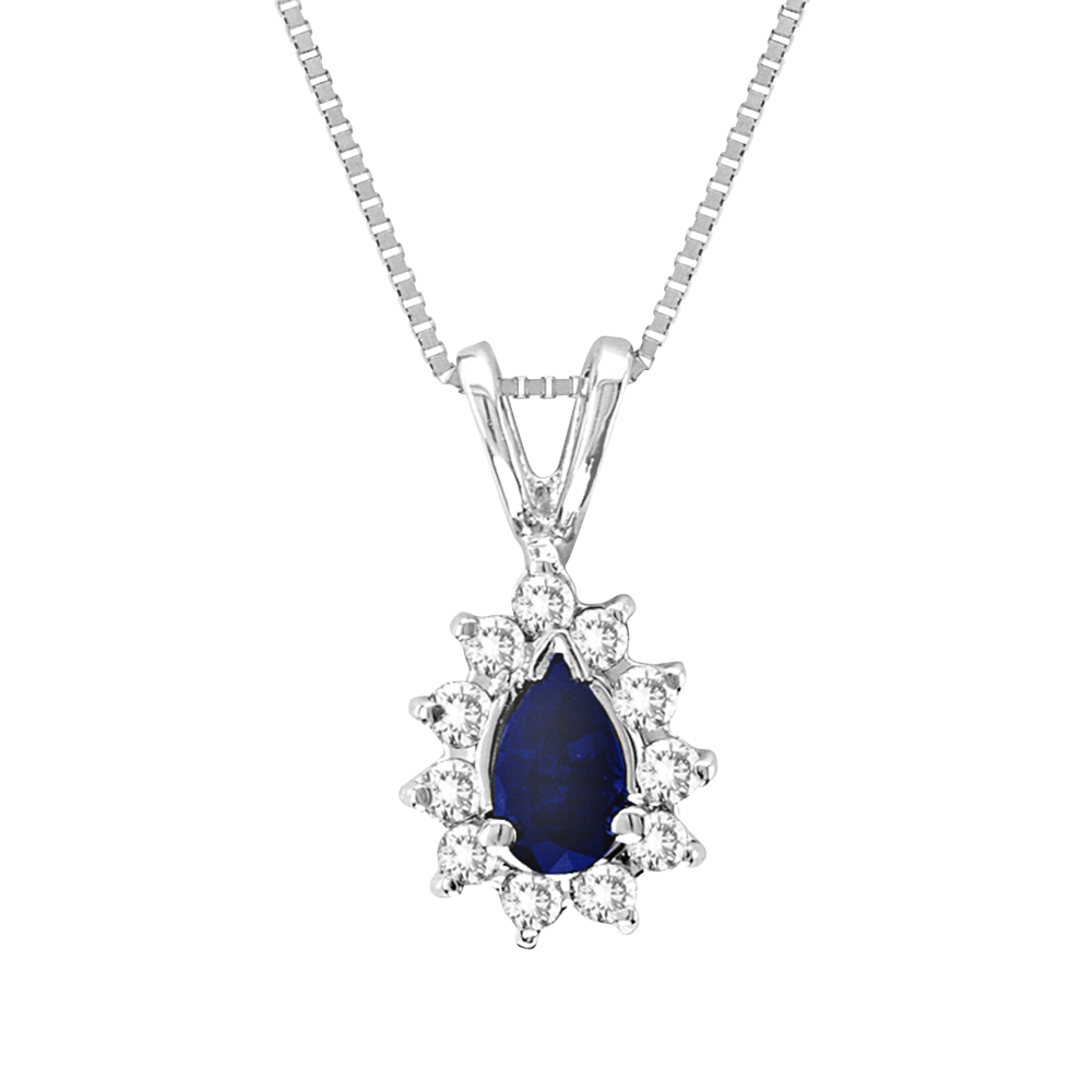 0.35cttw Diamond and Sapphire Pendant in 14k Gold
