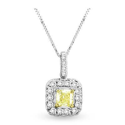 View 0.64ct tw White & Natural Fancy Yellow Radiant Cut Diamonds Pendant 18 kt Gold With 16 Inch Chain