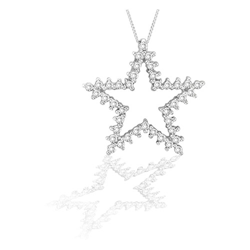 View 14k Gold Star Pendant with 0.60cts of diamonds. Chain Included