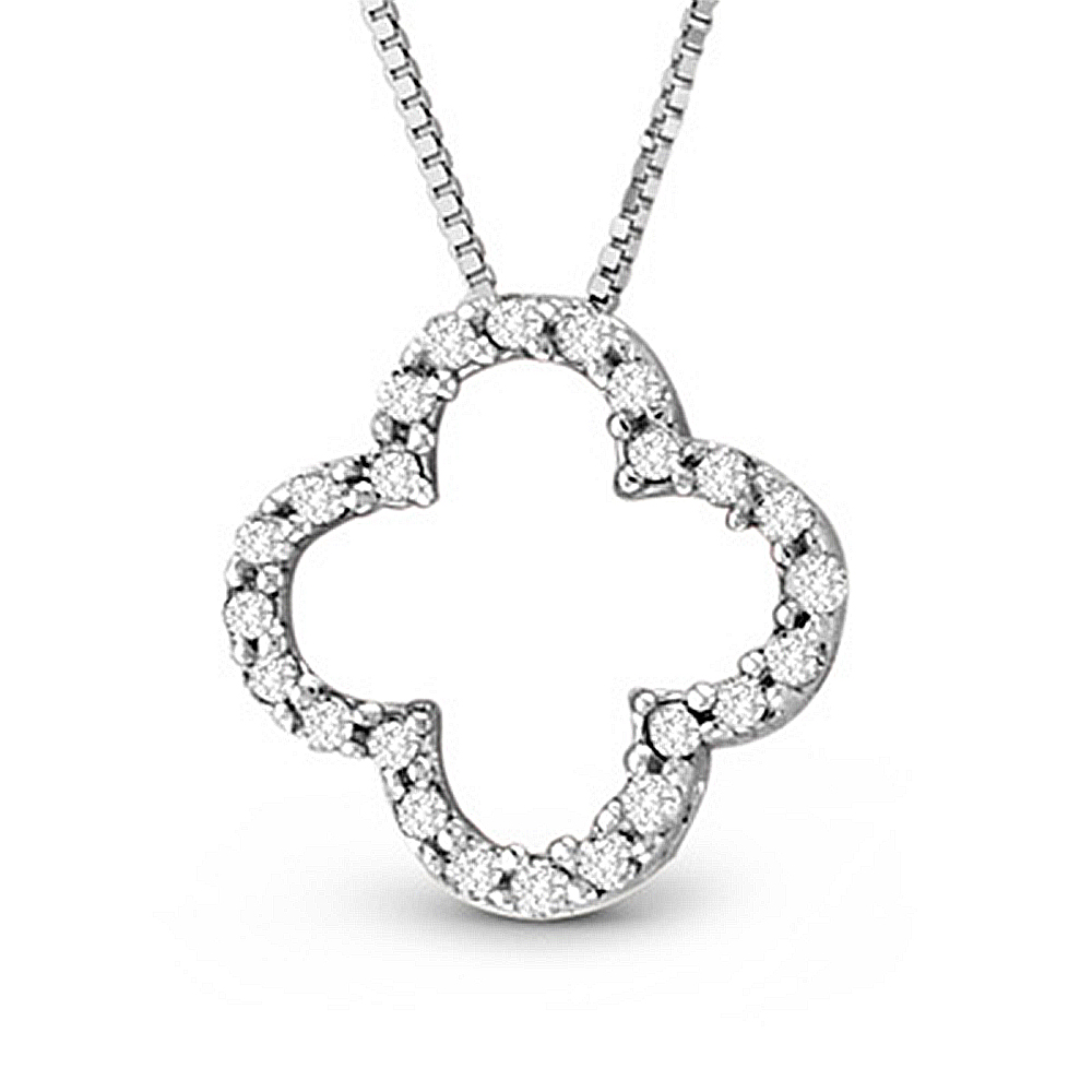 View 14k Gold Lucky Clover Pendant with 0.20ct tw HI I Diamond Quality Diamonds (1/2 inch in length and 1/2 inch in width)
