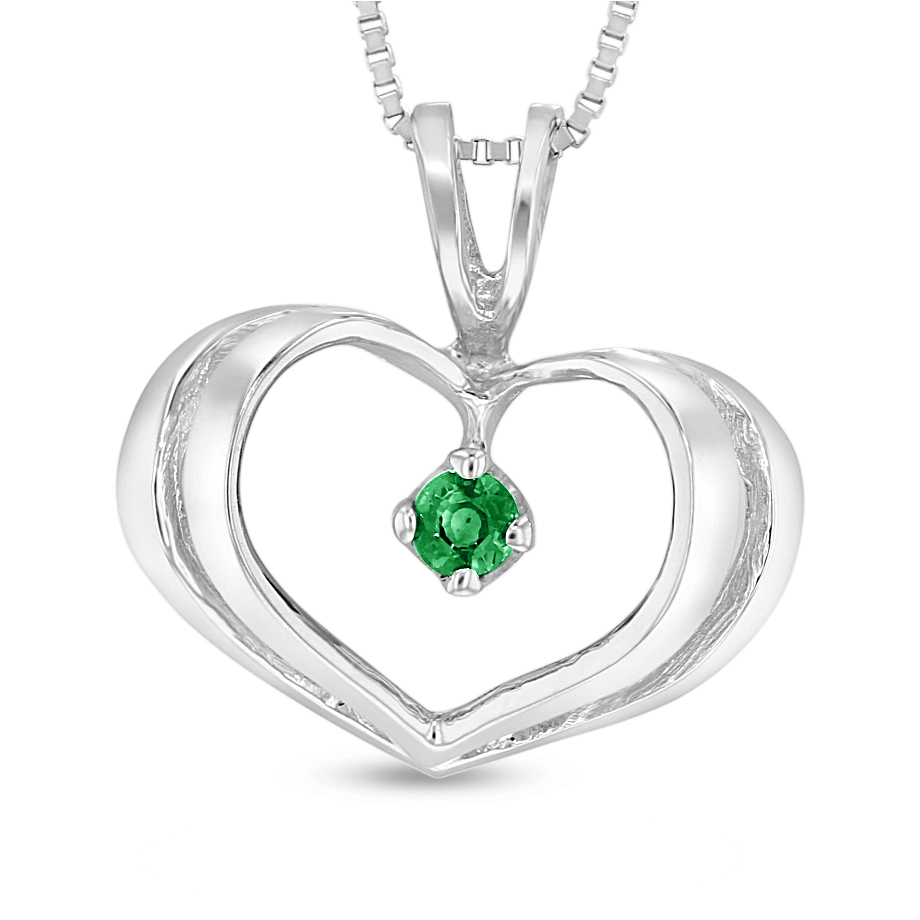 View 0.05ct Emerald Heart Pendant in 14k White Gold