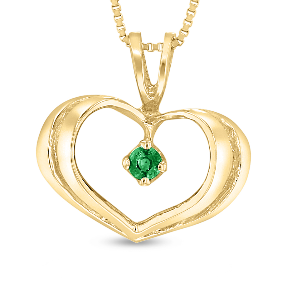 View 0.05ct Emerald Heart Pendant in 14k Yellow Gold