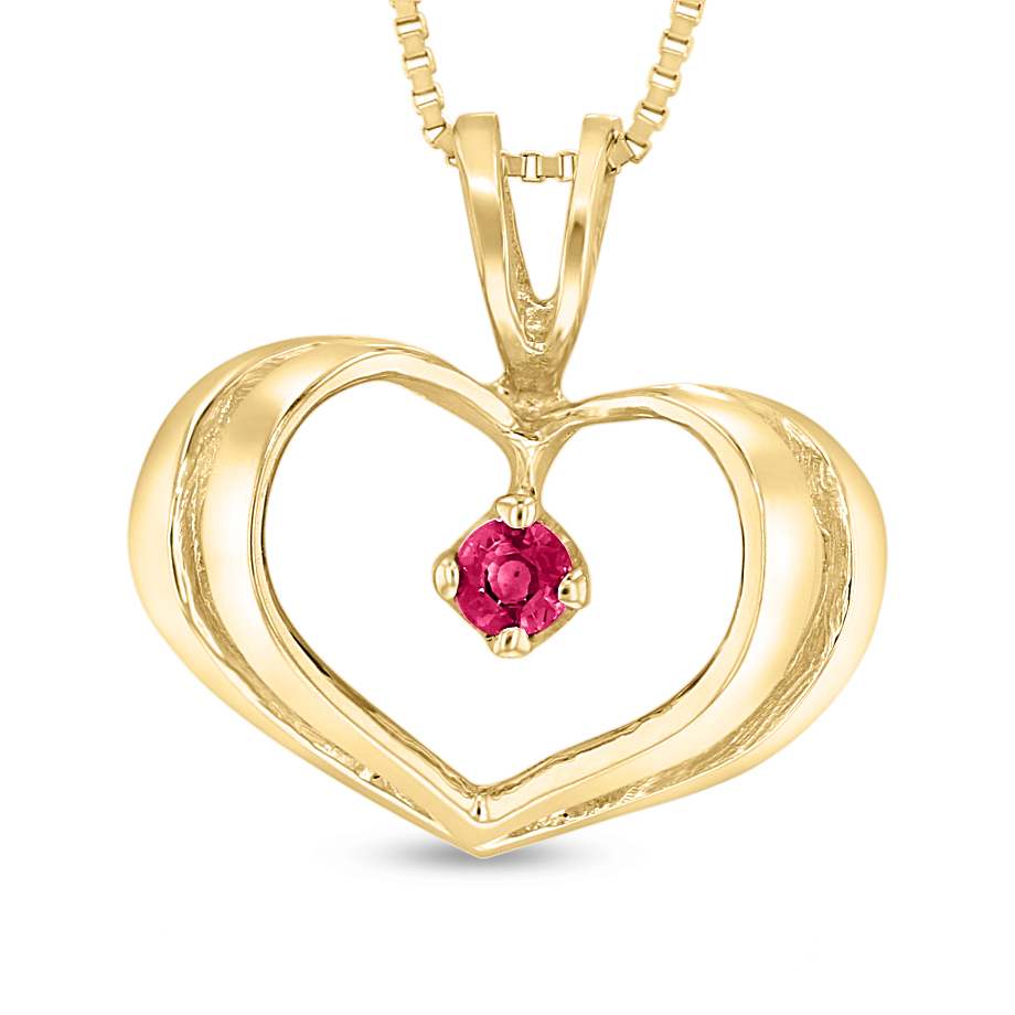 View 0.06ct Ruby Heart Pendant in 14k Yellow Gold