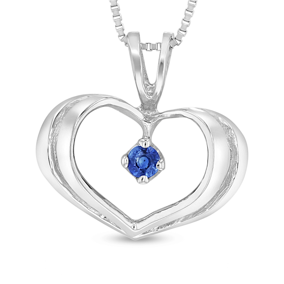 View 0.06ct Sapphire Heart Pendant in 14k White Gold