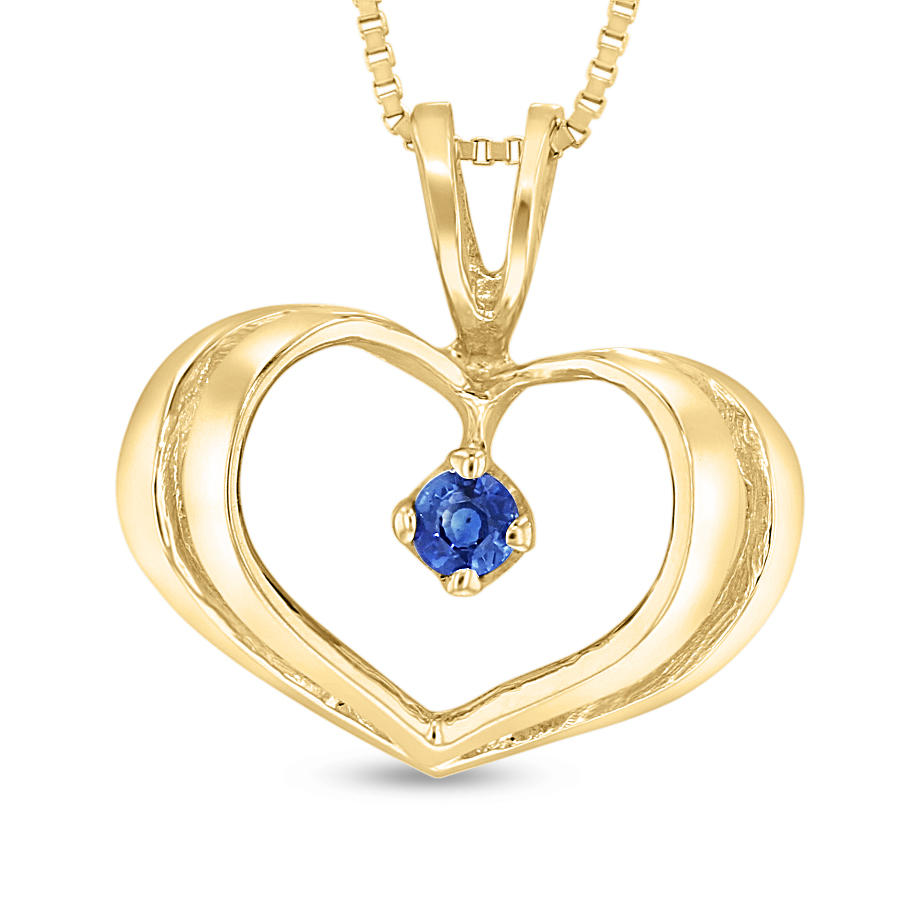 View 0.06ct Sapphire Heart Pendant in 14k Yellow Gold