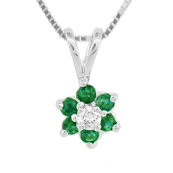 View 0.24ct tw Flower Cluster Diamond and Emerald Pendant in 14k Gold