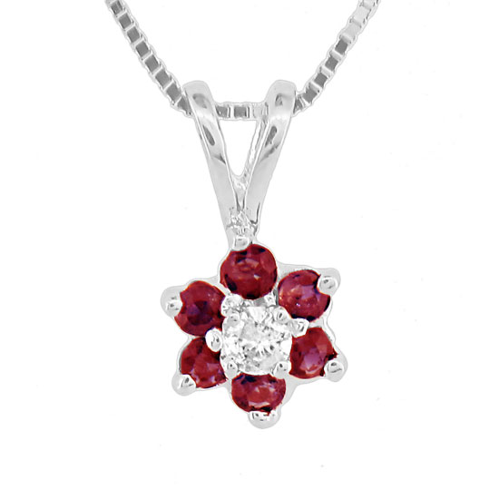 View 0.29ct tw Ruby and Diamond Flower Cluster Pendant in 14k Gold
