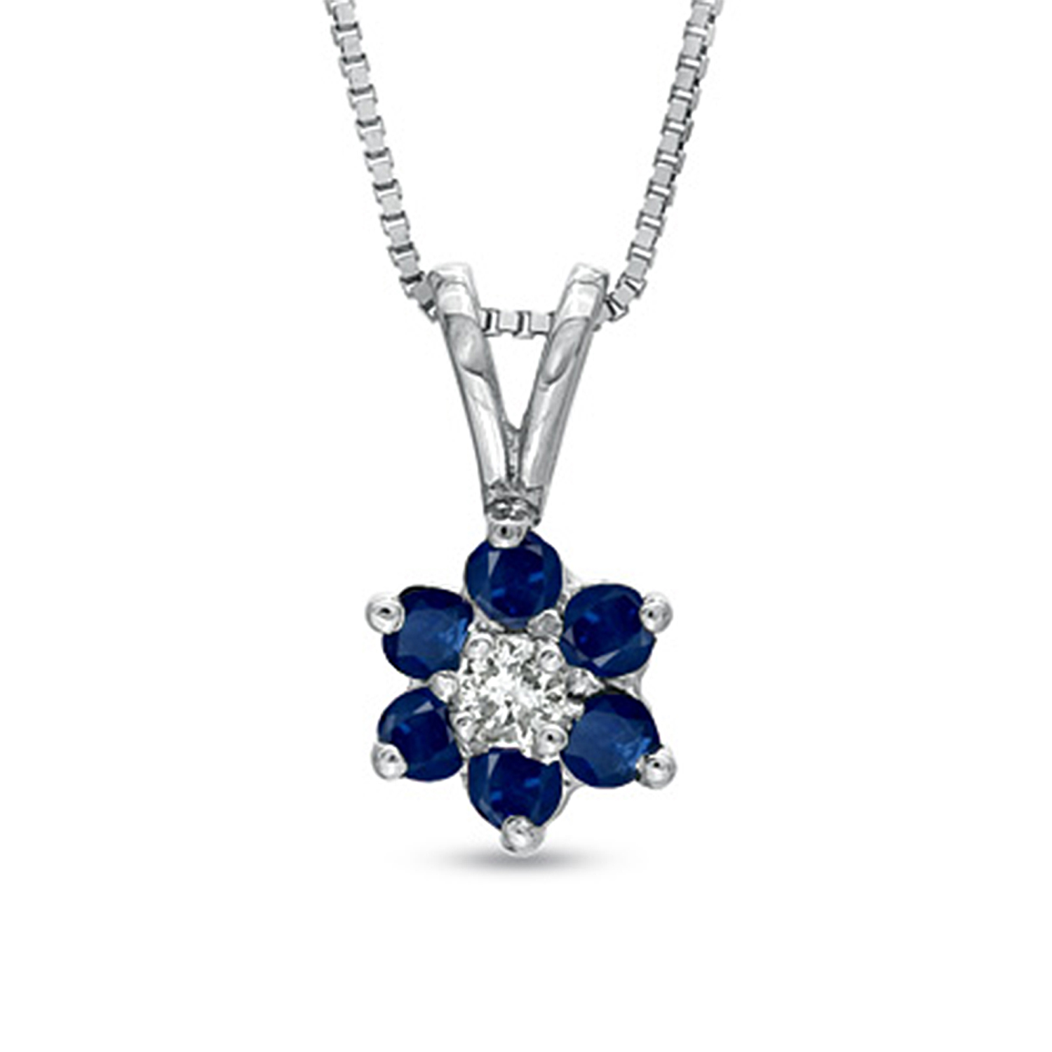 View 0.24ct tw Flower Cluster Diamond and Sapphireh Pendant 14k Gold