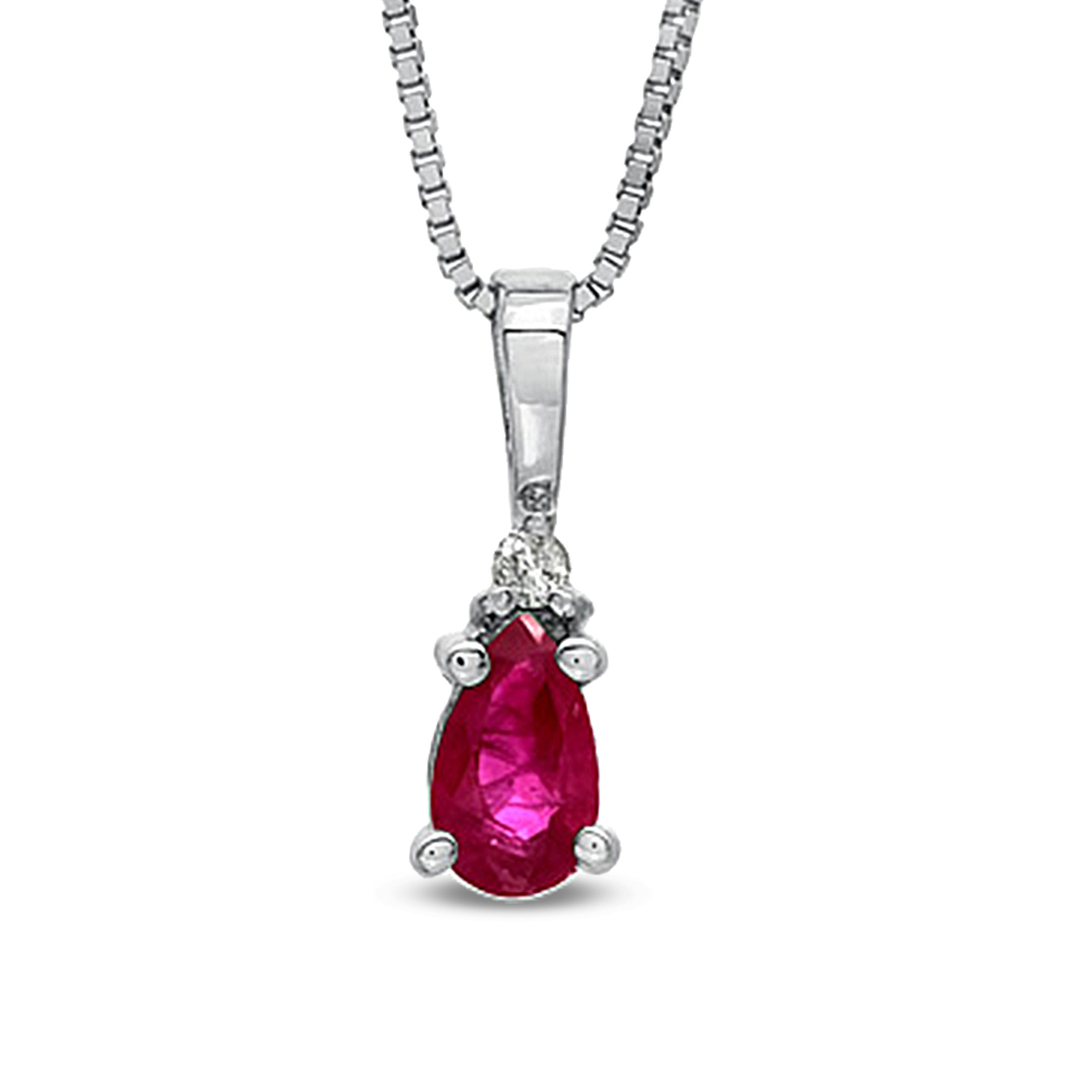 0.19ct tw Diamond and Natural Heated Pear Shaped Ruby Pendant in 14k Gold