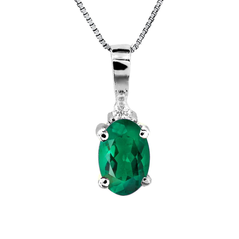 0.35ct tw Diamond and Oval Emerald Pendant in 14k Gold
