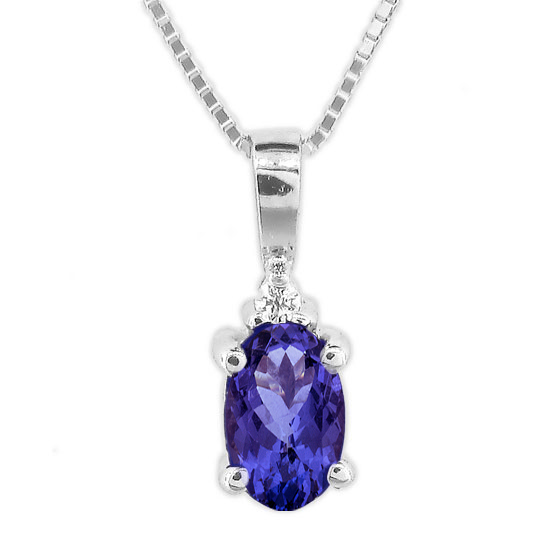 View 0.49cttw Tanzanite and Diamond Pendant set in 14k Gold