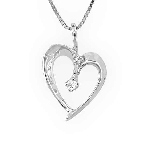 View 0.02ct Diamond Heart Pendant in 14k Gold