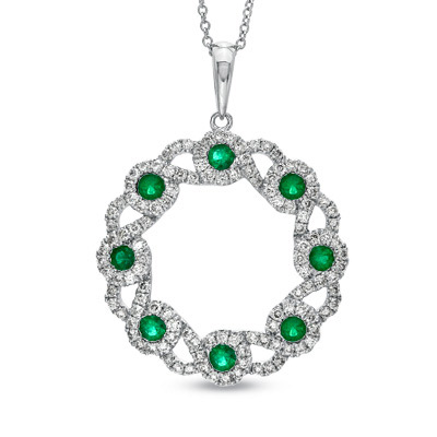 1.49ct tw Circle Pendant with Emerald and Diamonds set in 14k Gold