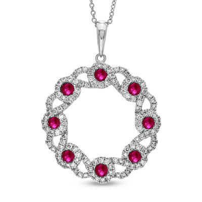 View 1.84ct tw Circle Pendant with Ruby and Diamonds Set in 14k Gold