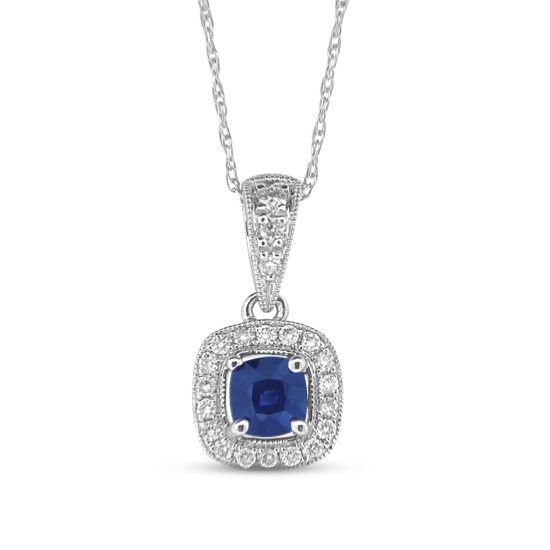 0.40cttw Cushion Cut Sapphire and Diamond Fashion Pendant set in 14k Gold
