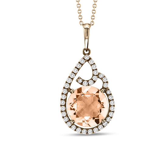 3.43cttw Diamond and Morganite Fashion Pendant in 14k Rose Gold