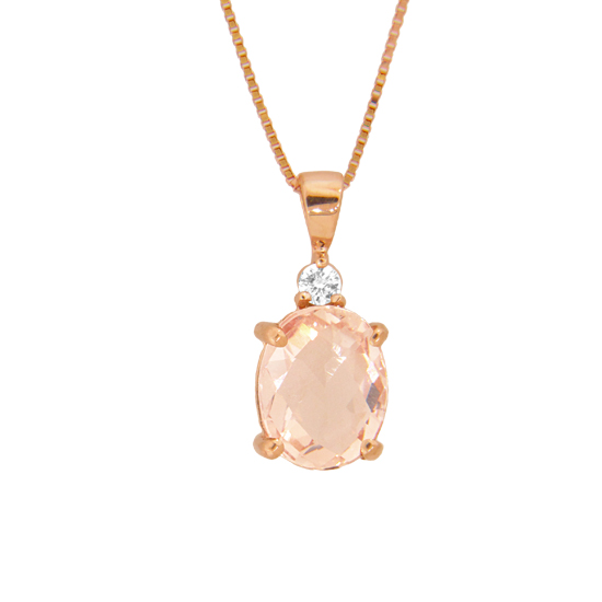 1.90cttw Diamond and Morganite Pendant in 14k Rose Gold