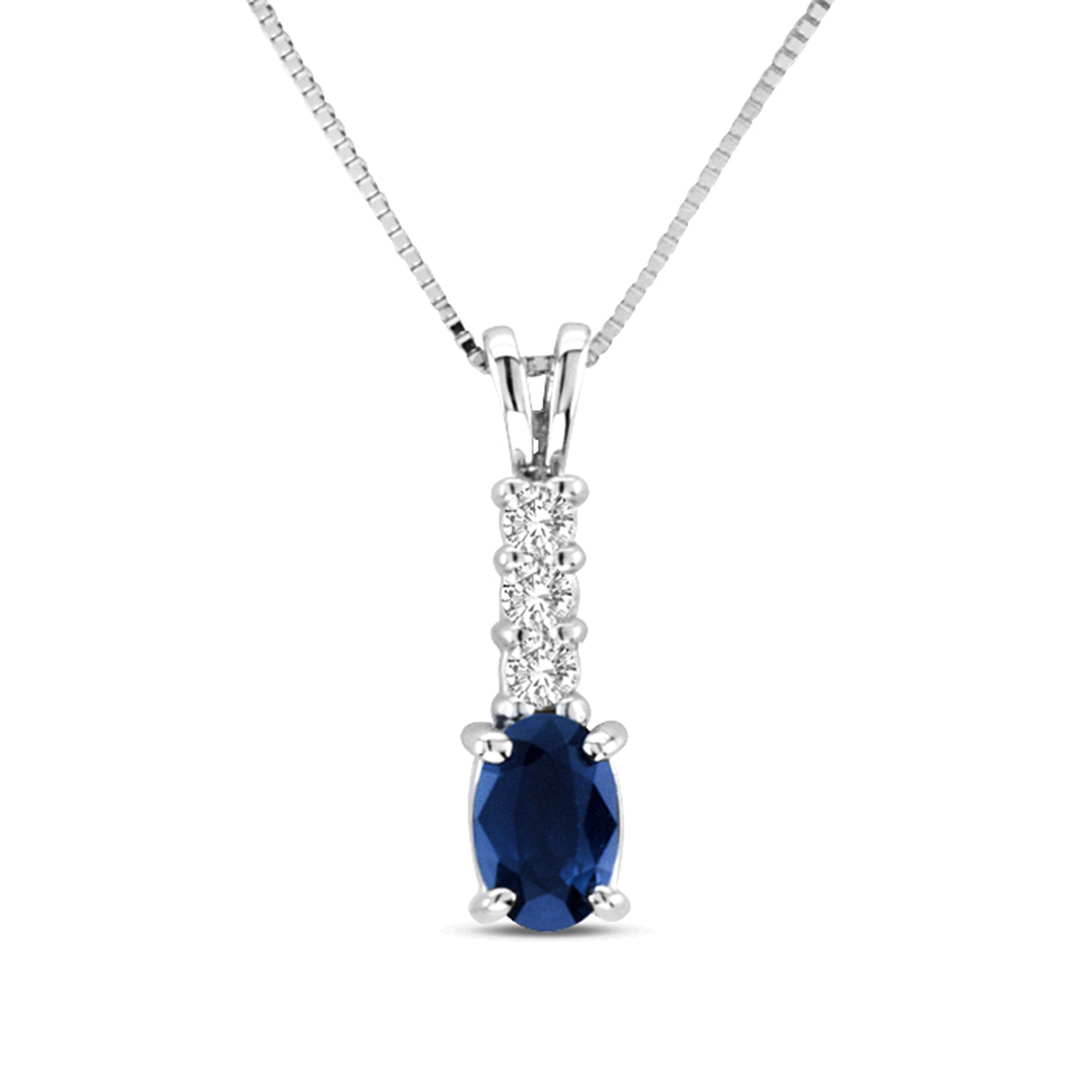 View 0.60cttw Sapphire and Diamond Pendant in 14K Gold