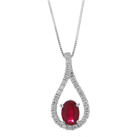 View 0.99cttw Diamond and Ruby Fashion Pendant in 14k White Gold