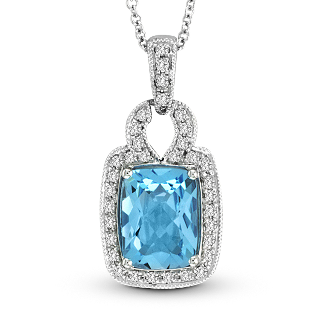 View 1.85ctw Diamond and Blue Topaz Fashion Pendant