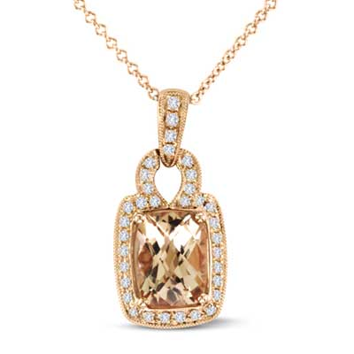 Diamond and Morganite Fashion Pendant in 14k Rose Gold