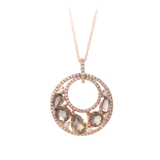 View 2.42cttw Smokey Quartz and Diamond Fashion Pendant in 14k Rose Gold