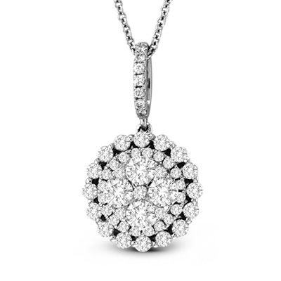 0.99cttw Diamond Cluster Fashion Pendant in 18K White Gold