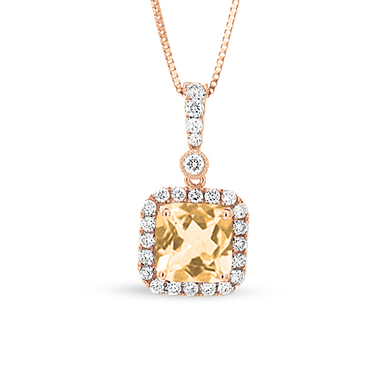 View 1.10cttw Diamond and Morganite Pendant in 14k Rose Gold