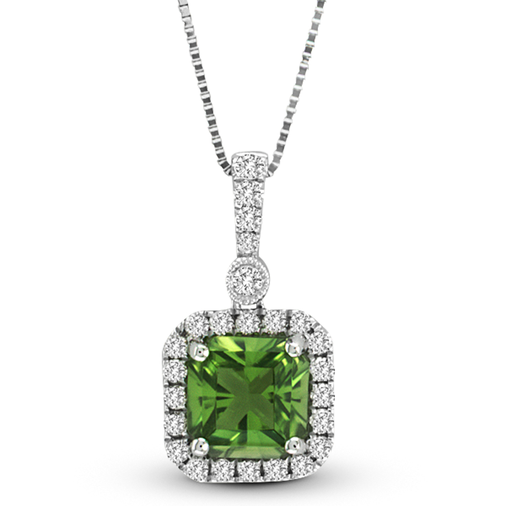 View 1.25cttw Diamond and Peridot Pendant in 14k White Gold