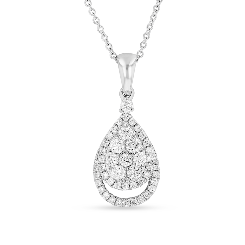 View 0.52ctw Diamond Pear Shaped Cluster Pendant in 18k white Gold