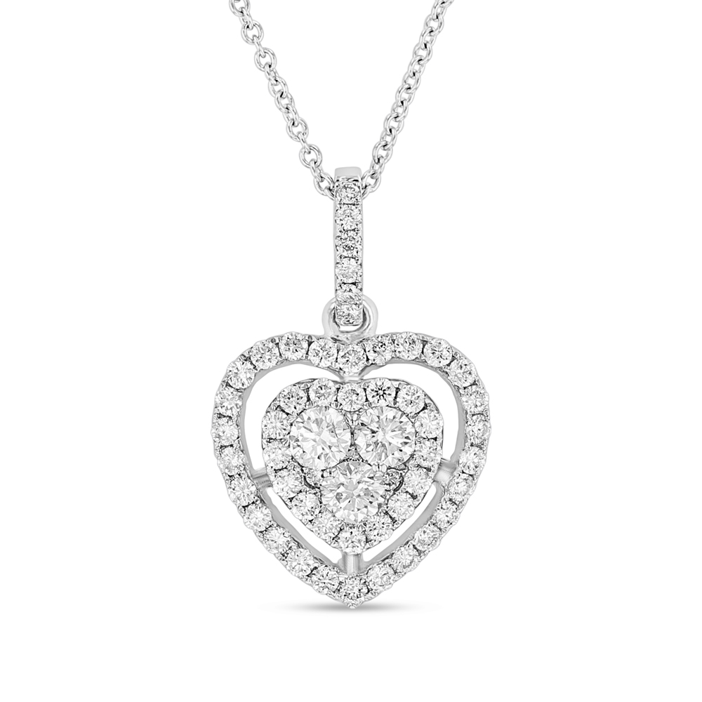 View 0.79ctw Diamond fashion Heart Pendant in 18k WG
