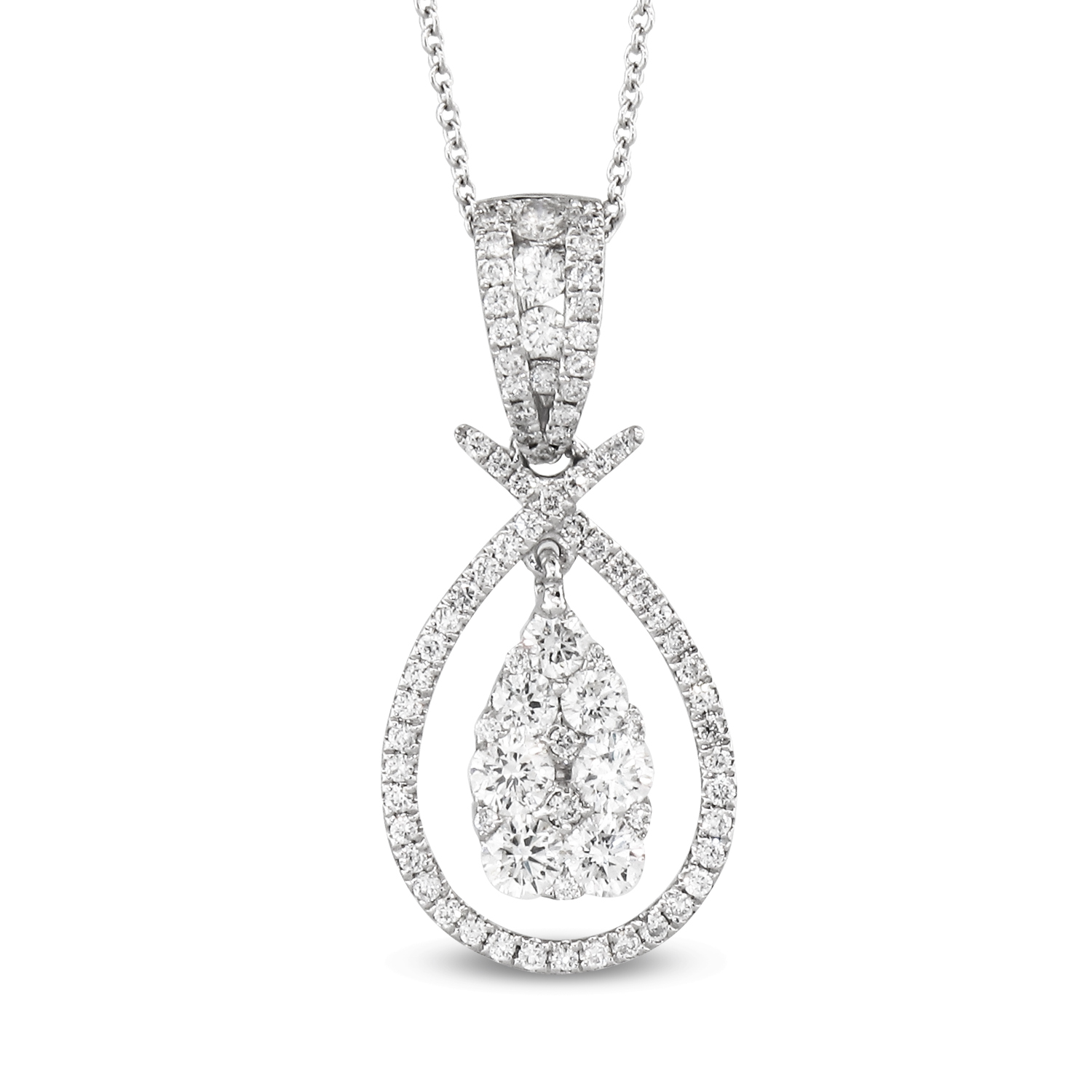 View 1.16ctw Diamond Pear Shaped Fashion Pendant in 18k WG