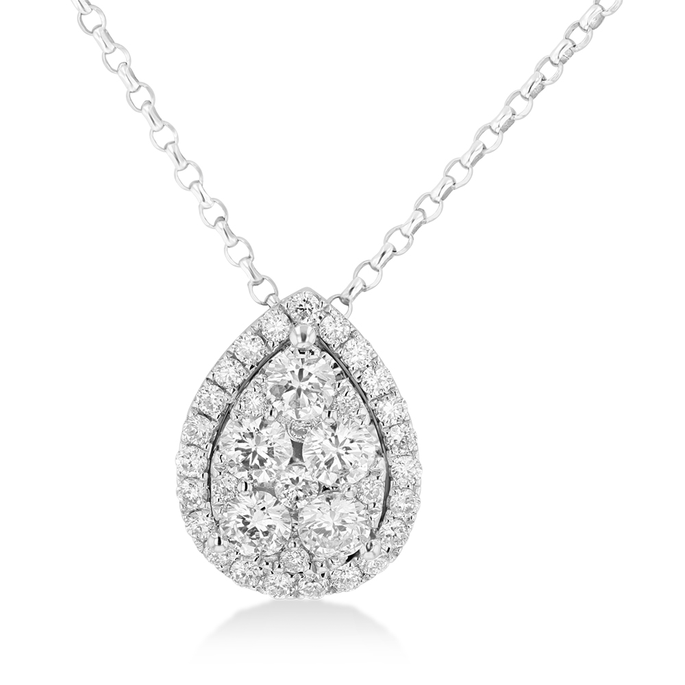 View 0.74ctw Diamond Pear Shaped Fashion Pendant in 18k WG