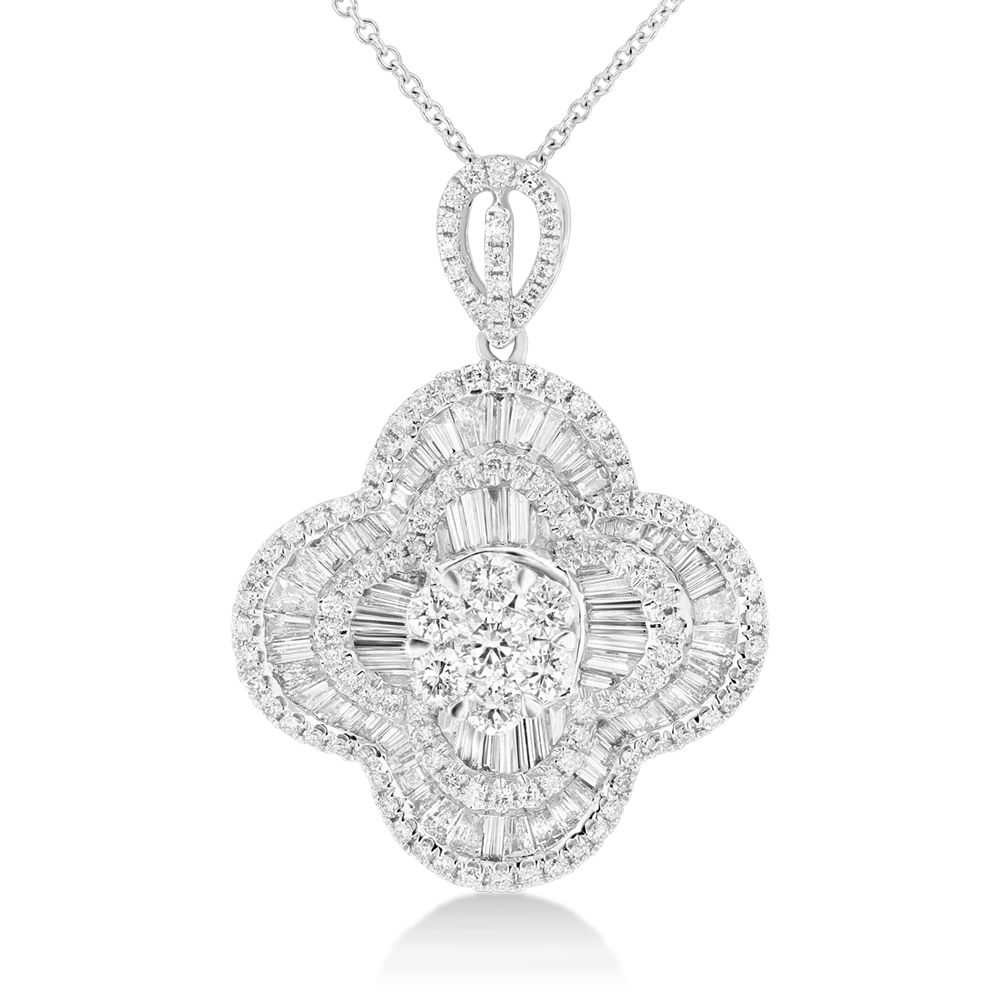 View 2.12ctw Diamond Fashion Clover Pendant in 18k WG