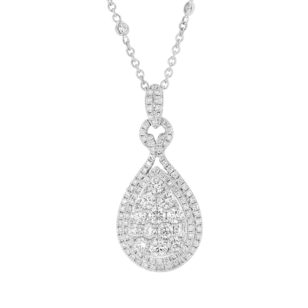 View 1.95ctw Diamond Pear Shaped Fashion Pendant with Diamond by the Yard Chain in 18k WG