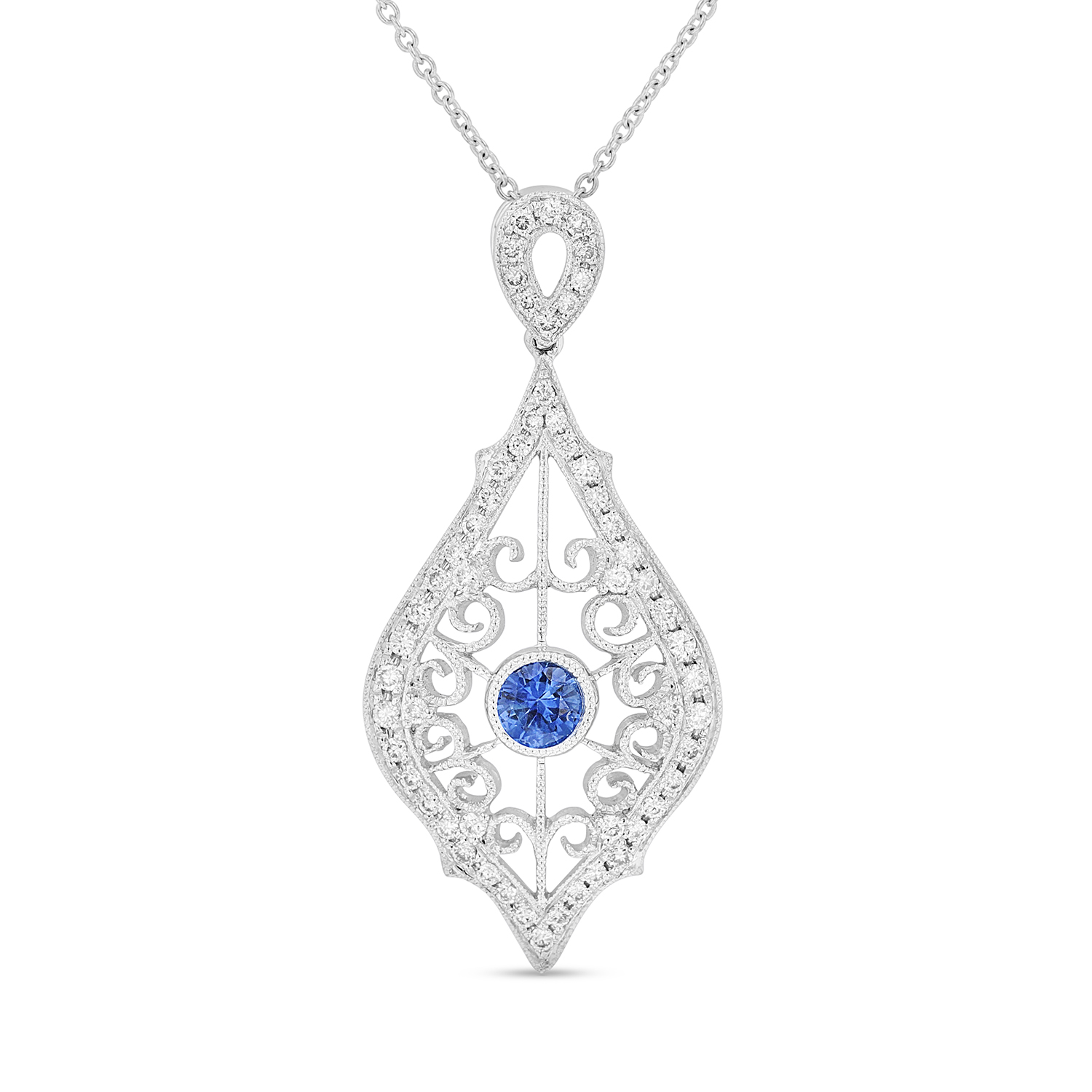 View 0.35ctw Diamond and Sapphire Pendant in 14k WG